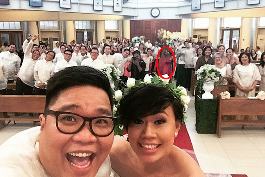 jug's wedding lady in red circled
