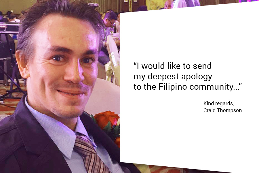pinoy thaiyo craig thompson apologizes to filipino community