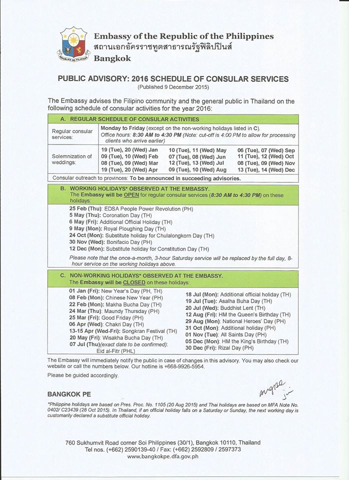 PHL Embassy Bangkok Schedule of Consular Activities