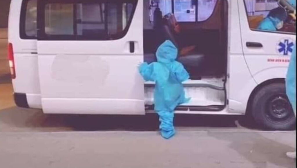 pinoy thaiyo 5 year old in ppe going to ride ambulance
