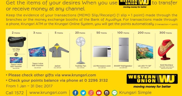 Krungsri Western Union freebies include Lotus voucher