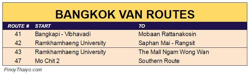 Bangkok Van Routes 4