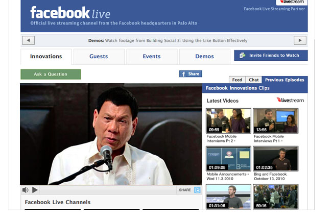 Duterte inauguration Facebook livestream