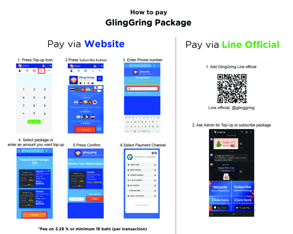 How to pay with Gling Gring
