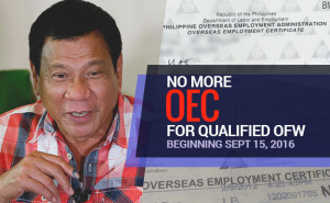 No more OECs for qualified OFWs