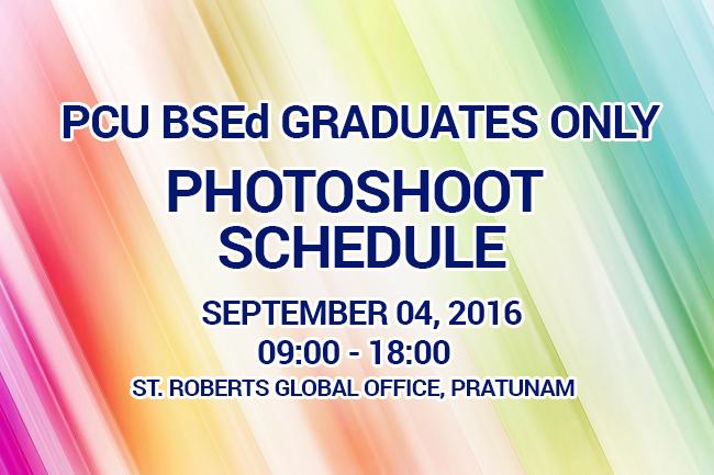 St Roberts Graduate Photoshoot Schedule
