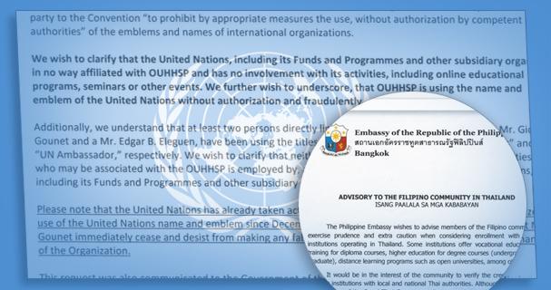 UN advisory against OUHHSP 2